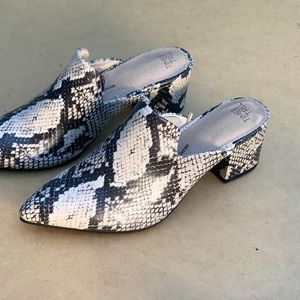 Woken Time and Tru Heeled Mules Snake Printed Shoe